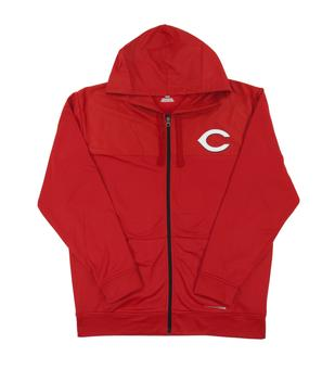 Cincinnati Reds Majestic Red Payback Moment Performance Full Zip Hoodie (Adult Large)