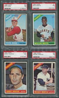 1966 Topps Baseball Complete Set (NM) With 8 PSA Graded Cards