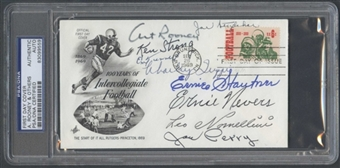 First Day Cover Signed by Multiple HOF's Nevers Rooney PSA/DNA *9559