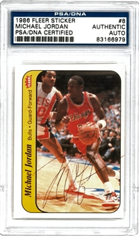 1986 Fleer Sticker Michael Jordan Autographed (PSA/DNA)