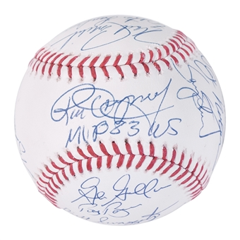1983 World Series Champion Baltimore Orioles Autographed Baseball 18 Signatures (Leaf)