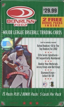 2002 Donruss Baseball Blaster 17 Pack Box