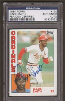 1984 Topps Ozzie Smith #130 Autographed Card PSA Slabbed (5032)