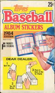 1984 Topps Album Stickers Baseball Wax Box