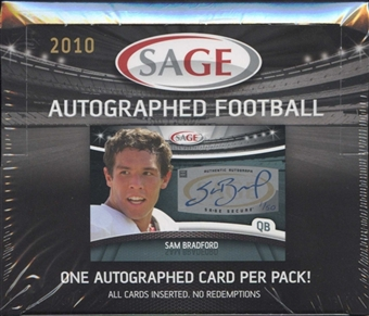 2010 Sage Autographed Football Hobby Box