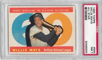 1960 Topps Baseball #564 Willie Mays All Star PSA 7 (NM) *9304