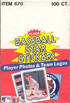 1985 Fleer Baseball Star Stickers Wax Box