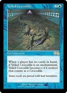 Magic the Gathering Urza's Saga Single Veiled Crocodile - SLIGHT PLAY (SP)