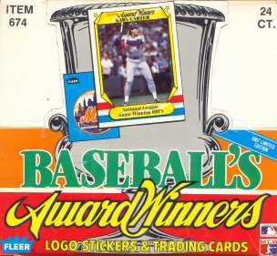 1987 Fleer Award Winners Baseball Cello Box