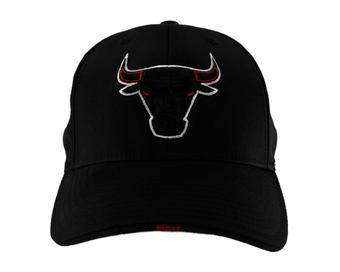 Chicago Bulls Adidas Black Structured Flex Fit Hat (Adult One Size)