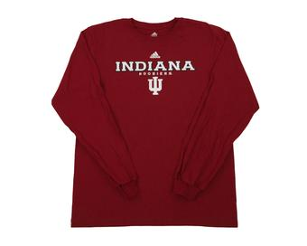 Indiana Hoosiers Adidas Red The Go To Long Sleeve Tee Shirt (Adult L)
