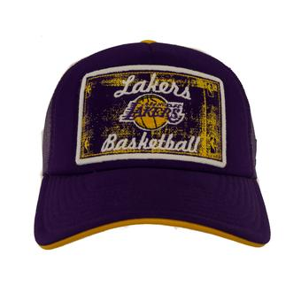 Los Angeles Lakers Adidas Team Colors Trucker Mesh Snapback Hat (Adult One Size)