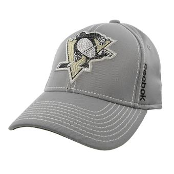 Pittsburgh Penguins Reebok Gray Center Ice Second Season Structured Flex Fit Hat (Adult L/XL)