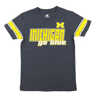 Michigan Wolverines Colosseum Navy Charge Dual Blend Tee Shirt (Youth Large)