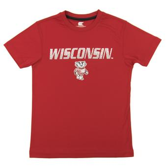 Wisconsin Badgers Colosseum Red Youth Performance Digit Tee Shirt (Youth XS)