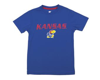 Kansas Jayhawks Colosseum Blue Youth Performance Digit Tee Shirt (Youth M)