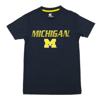 Michigan Wolverines Colosseum Navy Youth Performance Digit Tee Shirt (Youth L)