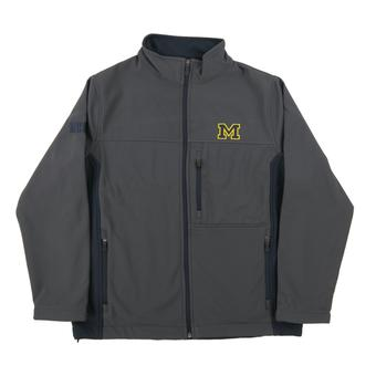 Michigan Wolverines Colosseum Grey & Navy Yukon II Softshell Full Zip Jacket (Adult S)