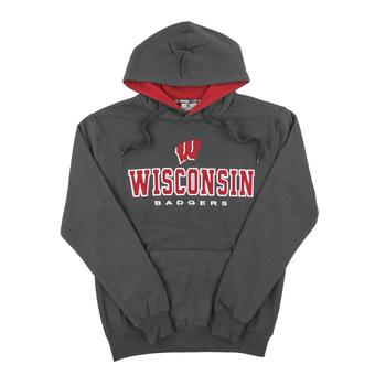 Wisconsin Badgers Colosseum Gray Zone II Dual Blend Fleece Hoodie (Adult Medium)