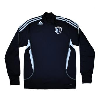 Kansas City Sporting Adidas Navy Climalite Performance Long Sleeve Tee Shirt (Adult S)