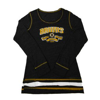 Boston Bruins Reebok Black Tri Blend Long Sleeve Tee Shirt (Womens M)