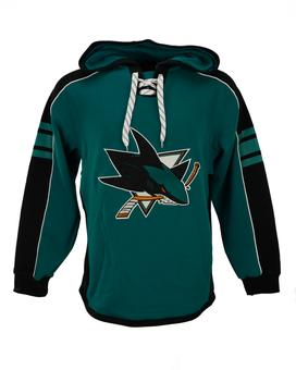 San Jose Sharks Reebok Teal Lace Up Fleece Jersey Hood