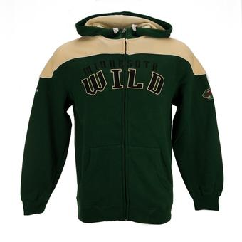 Minnesota Wild Reebok Green Score Full Zip Fleece Hoodie (Adult S)