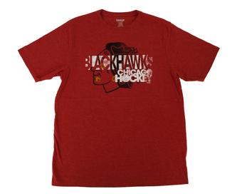 Chicago Blackhawks Reebok Heather Red Dual Blend Tee Shirt (Adult L)