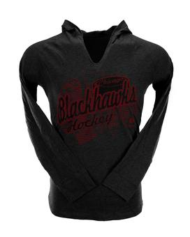 Chicago Blackhawks Reebok Heather Grey Long Sleeve Hooded Tee Shirt (Womens L)