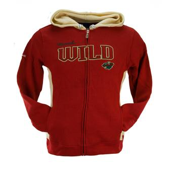 Minnesota Wild Reebok Red Full Zip Fleece Hoodie (Womens L)