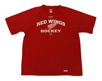 Detroit Red Wings Reebok Red Speedwick Performance Tee Shirt (Adult S)