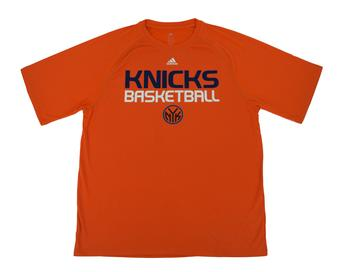 New York Knicks Adidas Orange Climalite Performance Tee Shirt (Adult L)