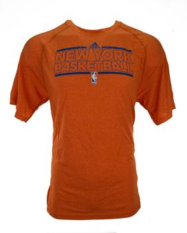 New York Knicks Adidas Heather Orange Climalite Performance Tee Shirt (Adult L)