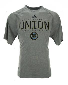 Philadelphia Union Adidas Gray Climalite Performance Tee Shirt (Adult S)