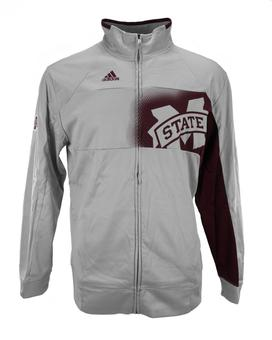 Mississippi State Bulldogs Adidas Grey Climawarm Player Warmup Full Zip Track Jacket (Adult S)