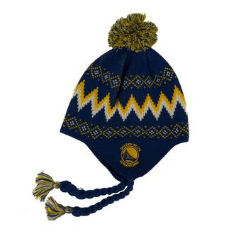 Golden State Warriors Adidas Blue Tassle Knit with Pom Knit Hat Beanie (Boys 4-7)