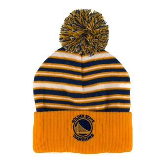 Golden State Warriors Adidas Striped Cuff Knit with Pom Hat Beanie (Boys 4-7)