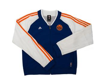 New York Knicks Adidas Blue & White On Court Full Zip Jacket