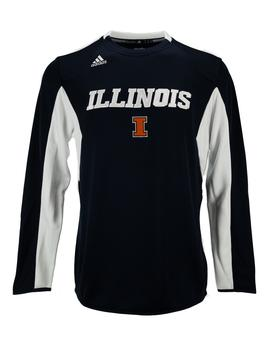 Illinois Fighting Illini Adidas Navy Climalite Sideline Fleece Crew Sweatshirt (Adult XL)
