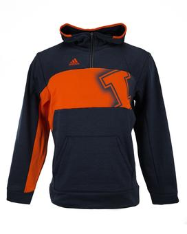 Illinois Fighting Illini Adidas Navy Climawarm Quarter Zip Player Fleece Hoodie