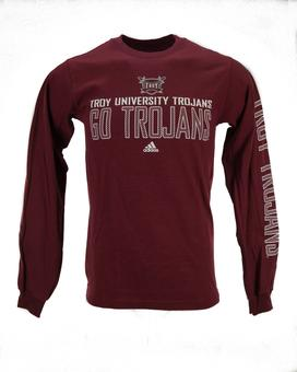 Troy Trojans Adidas Maroon Long Sleeve Tee Shirt (Adult S)