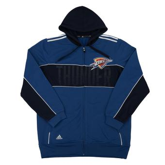 Oklahoma City Thunder Adidas Blue The Chosen Few 3-Stripe Full Zip Hoodie