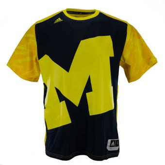 Michigan Wolverines Adidas Navy & Yellow On Court Shooter Performance Tee Shirt (Adult XL)