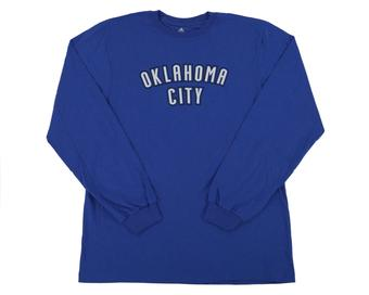 Oklahoma City Thunder Adidas Blue Long Sleeve Tee Shirt (Adult XL)
