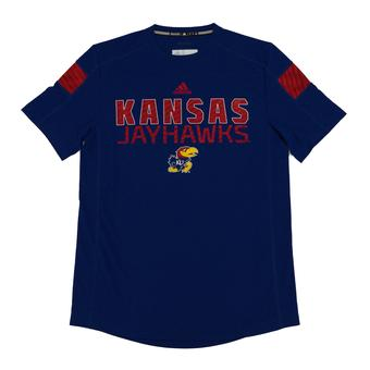 Kansas Jayhawks Adidas Blue Climalite Sideline Performance Tee Shirt (Adult XL)
