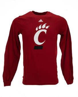 Cincinnati Bearcats Adidas Red The Go To Long Sleeve Tee Shirt (Adult L)