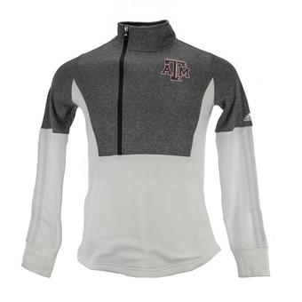 Texas A&M Aggies Adidas Gray & White Training 1/4 Zip Fleece (Womens XL)