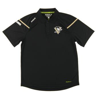 Pittsburgh Penguins Reebok Black Center Ice Performance Play Dry Polo (Adult Medium)
