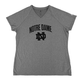 Notre Dame Fighting Irish Adidas Grey Climalite Performance Tee Shirt (Womens M)