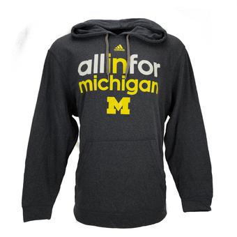 Michigan Wolverines Adidas Heather Navy Ultimate Fleece Hoodie (Adult M)